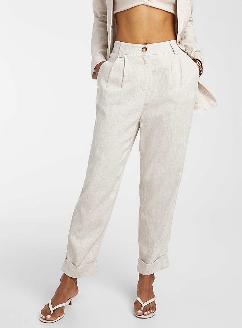 Icône Cream Beige Pleated heather linen pant for women