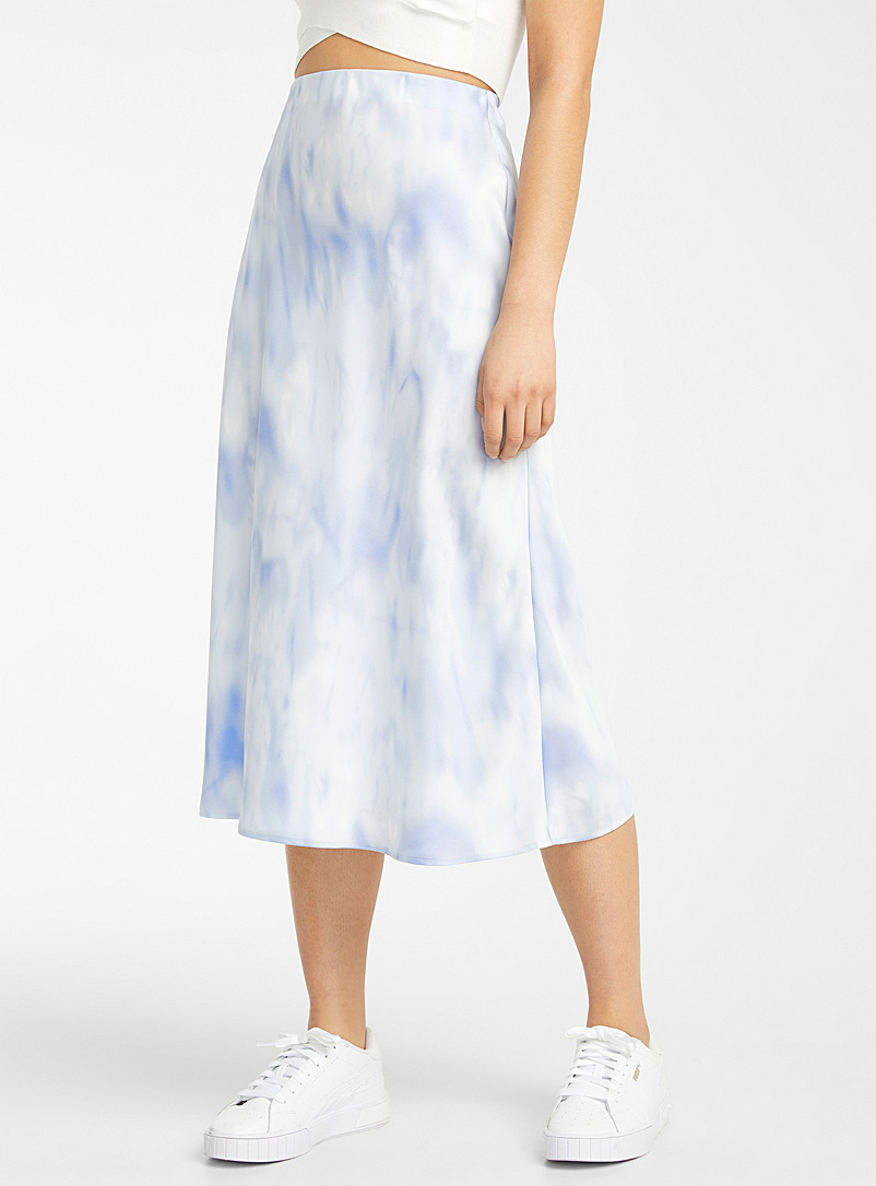 Icône Patterned Blue Tie-dye satiny skirt for women