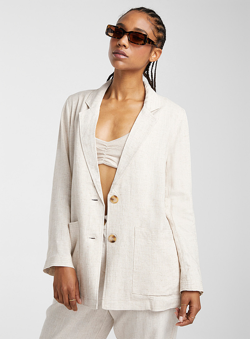 Icône Cream Beige Heather linen blazer for women