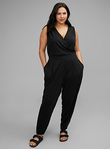 Crossover-neck jersey jumpsuit Plus size