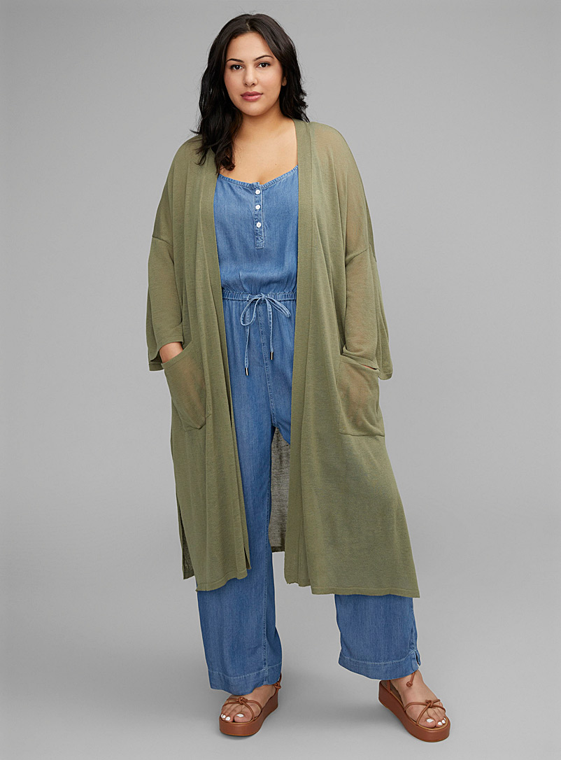 Contemporaine Mossy Green Lightweight knit maxi cardigan Plus size for women