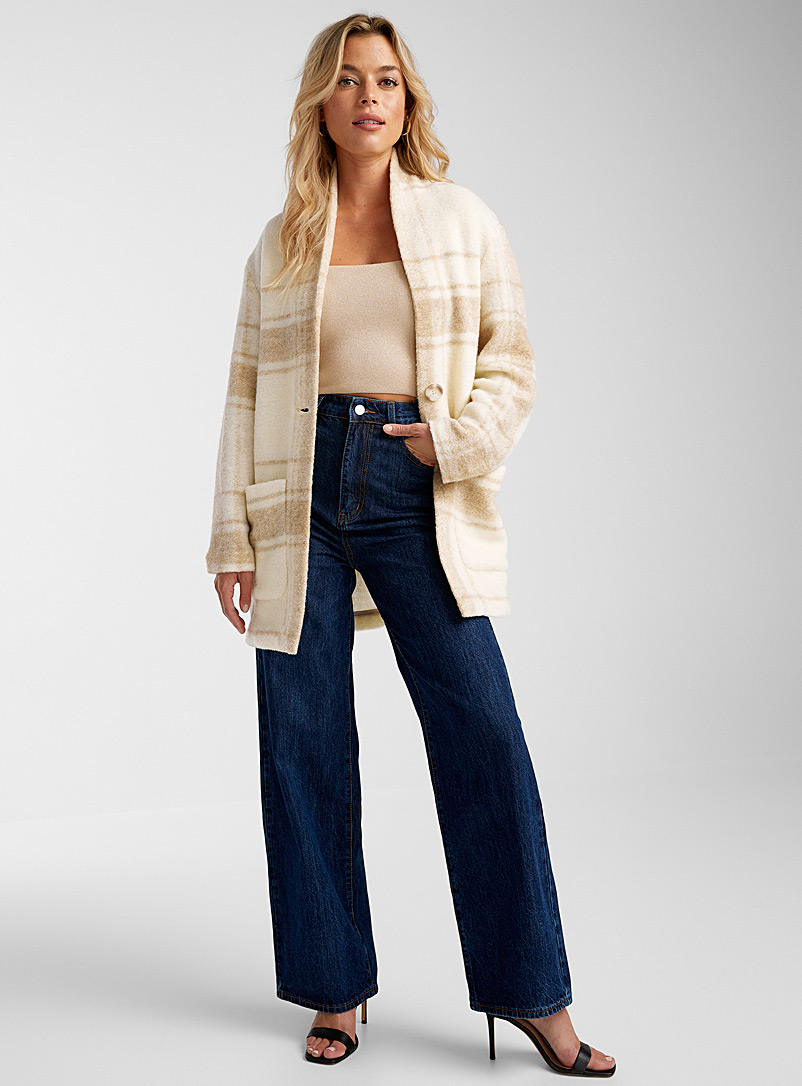 Icône Ivory White Faded check cardigan for women