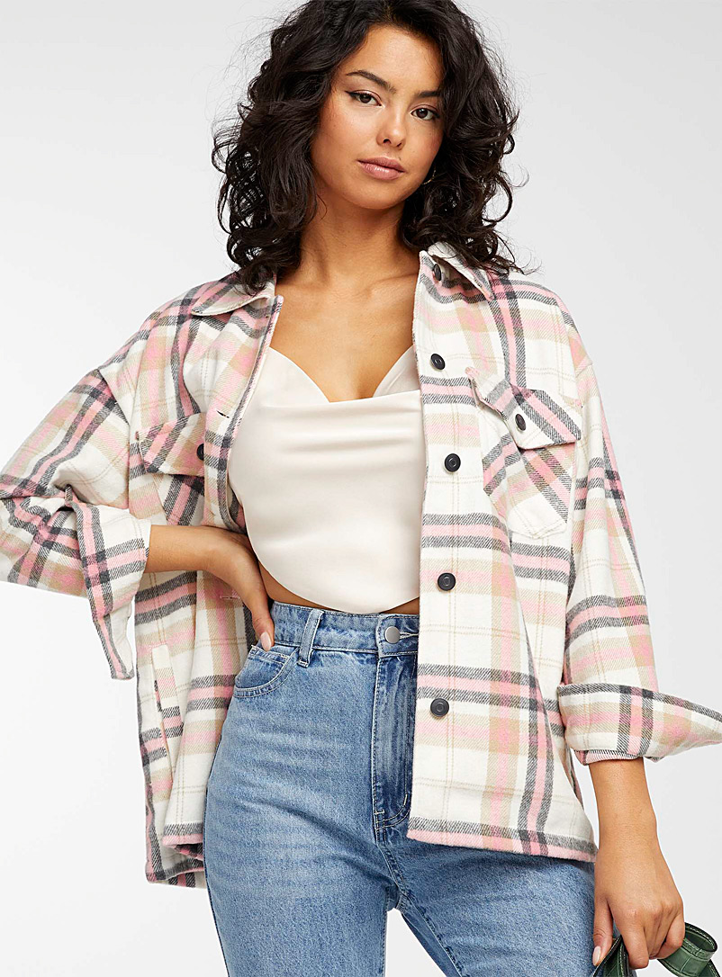 Icône Pink Candy-coloured check overshirt for women