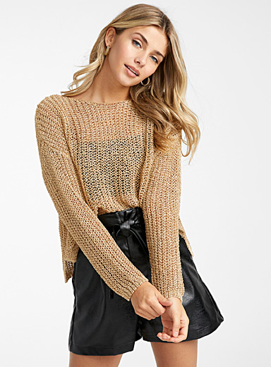 Interlaced knit shimmery sweater