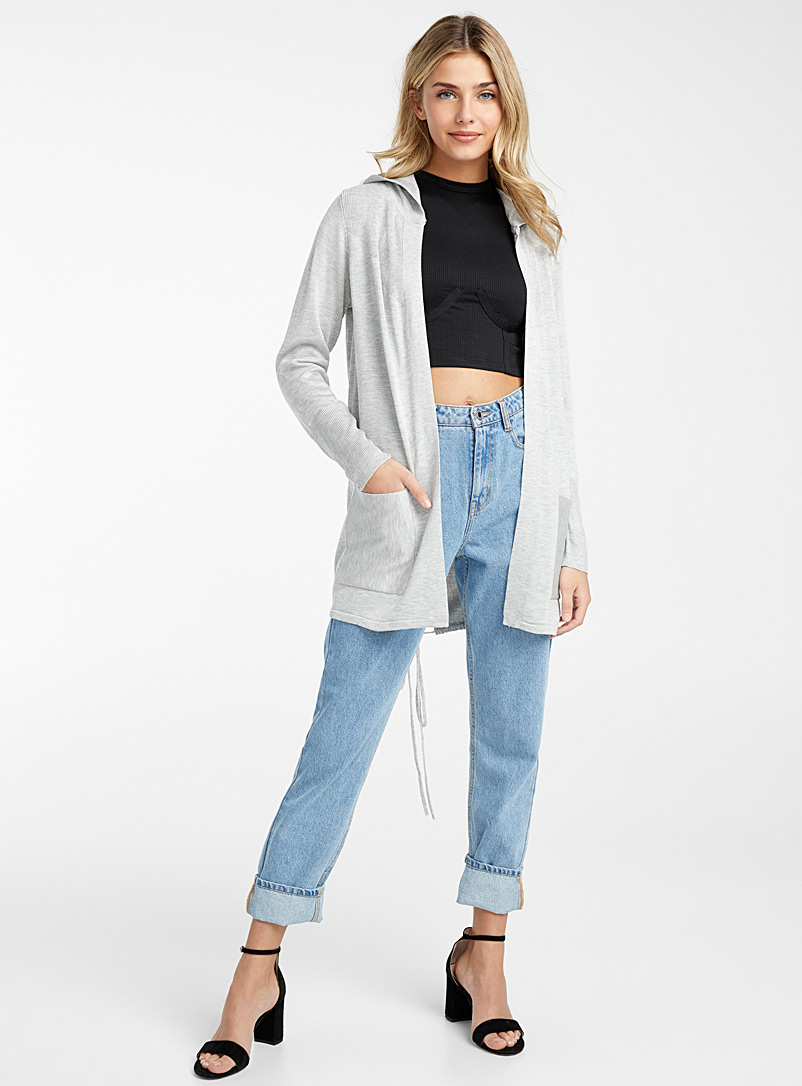 Icône Light Grey Hooded ribbed band cardigan for women