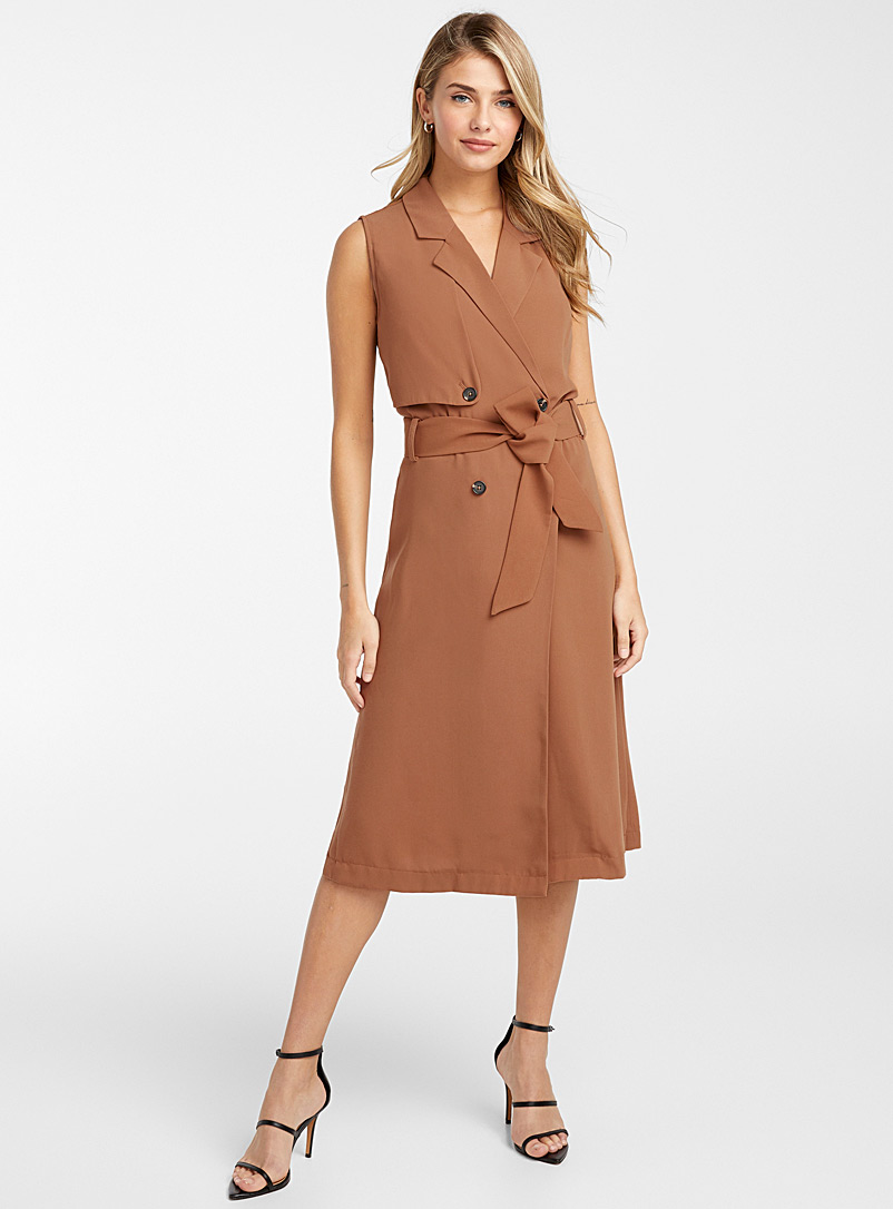 Icône Dark Orange Sleeveless trench dress for women
