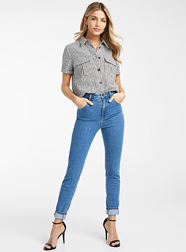 Patch pocket gingham shirt
