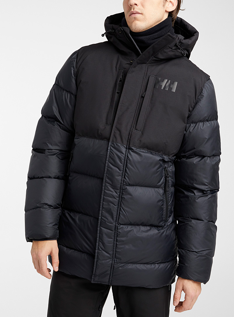 Helly Hansen Black Active quilted coat  Long fit for men