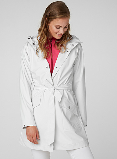 Helly Hansen White Kirkwall II waterproof trench coat for women