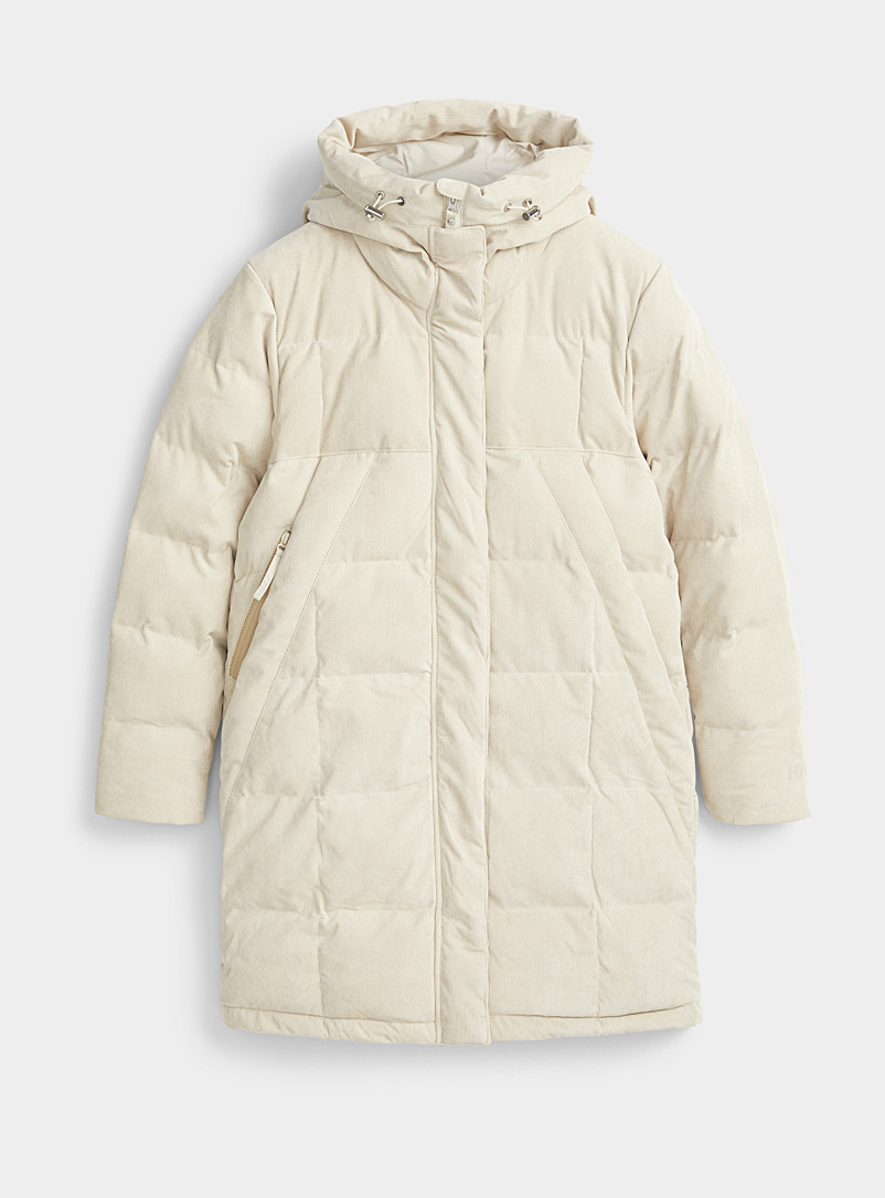 Helly Hansen Ivory White JPN corduroy puffer coat for women