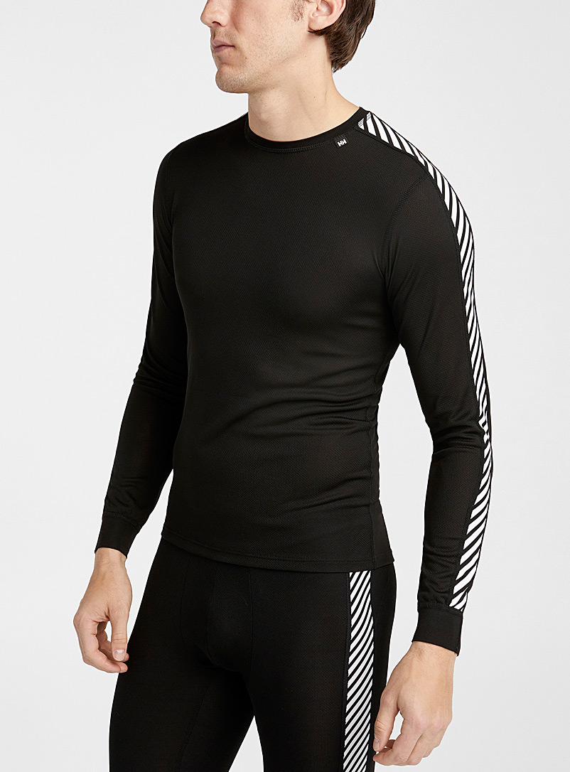 Helly Hansen Black Lifa accent-stripe thermal top for men