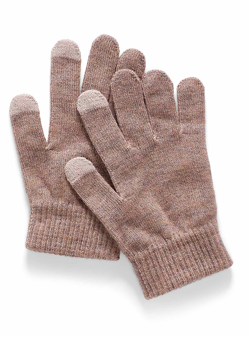 Simons Dusky Pink Fine knit touch sensitive gloves for women