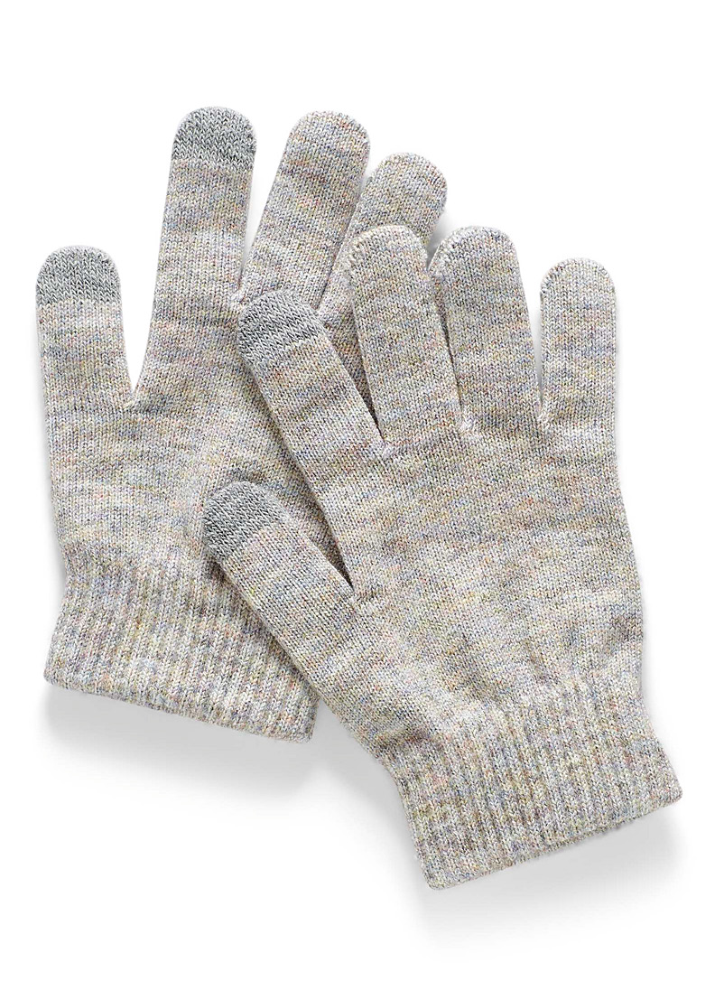 Simons Grey Fine knit touch sensitive gloves for women
