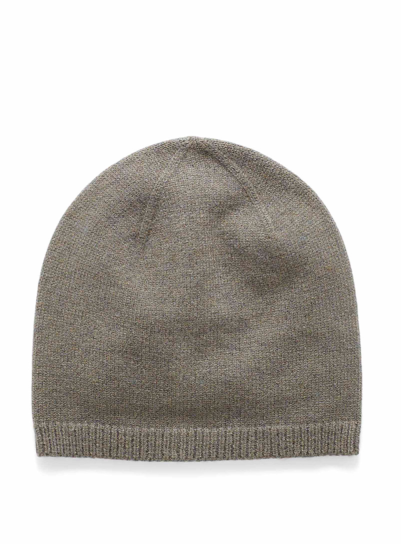 Simons Mossy Green Rib-trim fine knit tuque for women