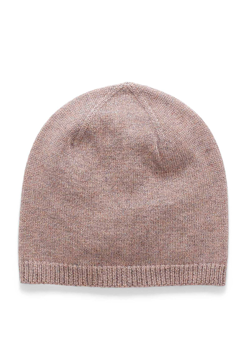 Simons Dusky Pink Rib-trim fine knit tuque for women