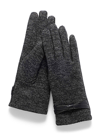 Simons Grey Bow-cuff gloves for women