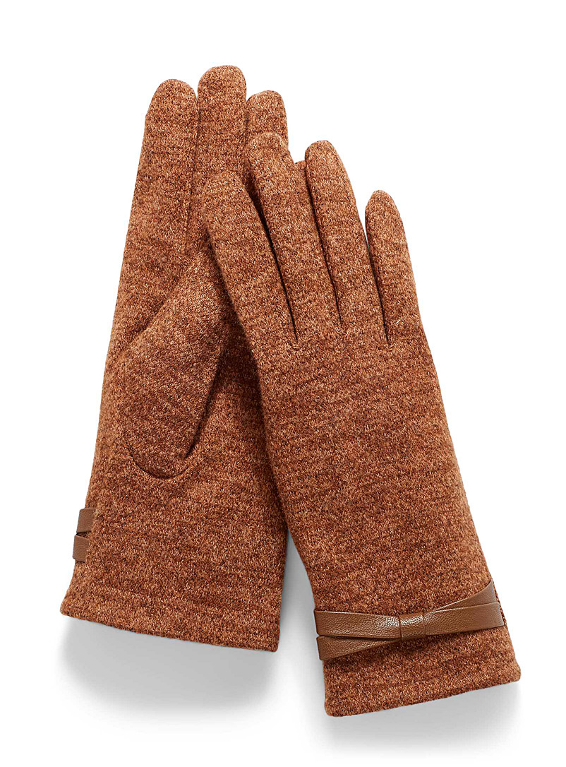 Simons Medium Brown Bow-cuff gloves for women