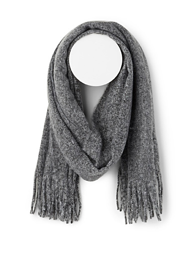Le 31 Charcoal Heathered scarf for men