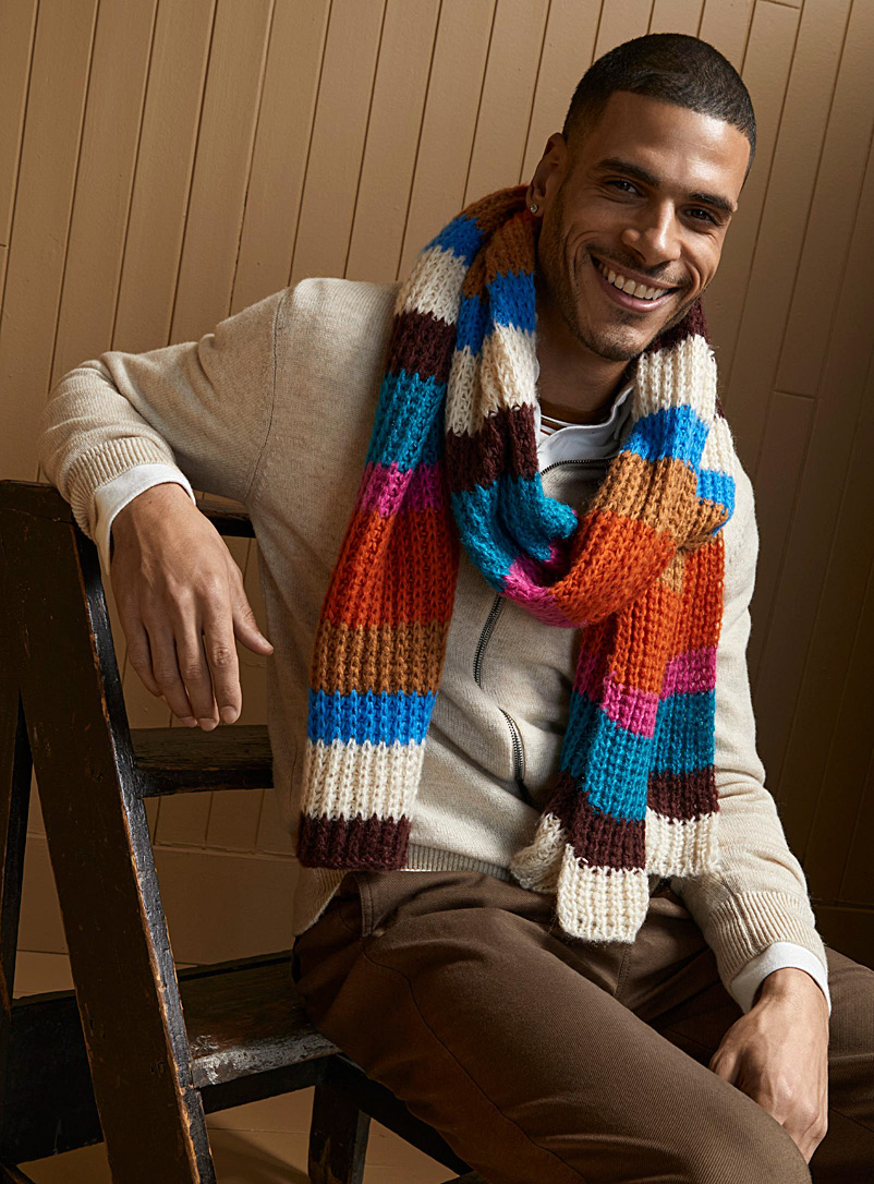 Le 31 Assorted Candy stripe knit scarf for men