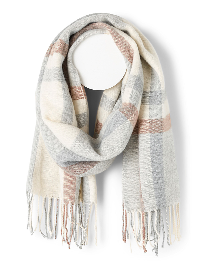 Simons Patterned White Ultra-soft heather scarf for women