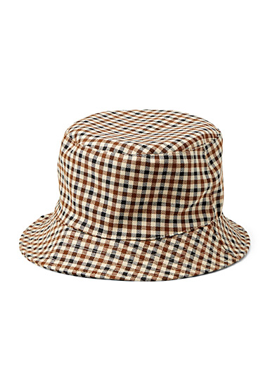 Gingham-look bucket hat