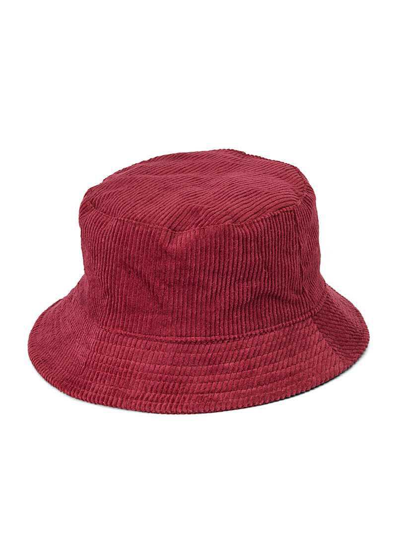 Simons Ruby Red Corduroy bucket hat for women