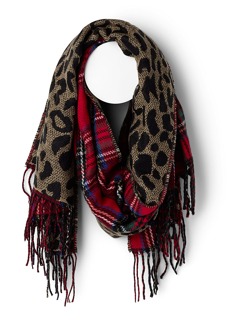 Leopard tartan scarf - Winter Scarves - Patterned Red