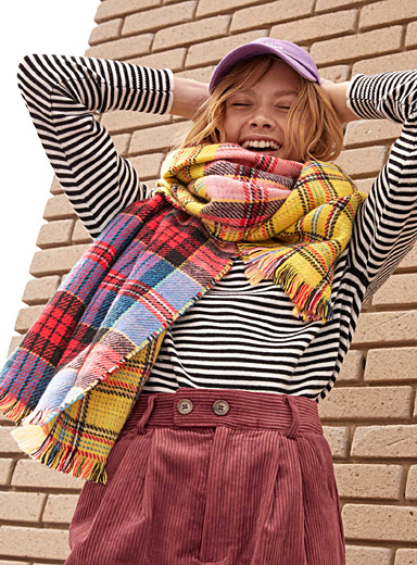 Multicolour check blanket scarf