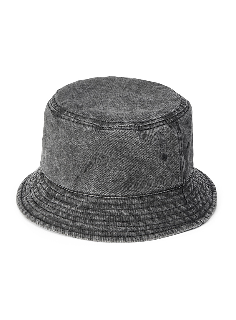 Simons Black Faded cotton bucket hat for women
