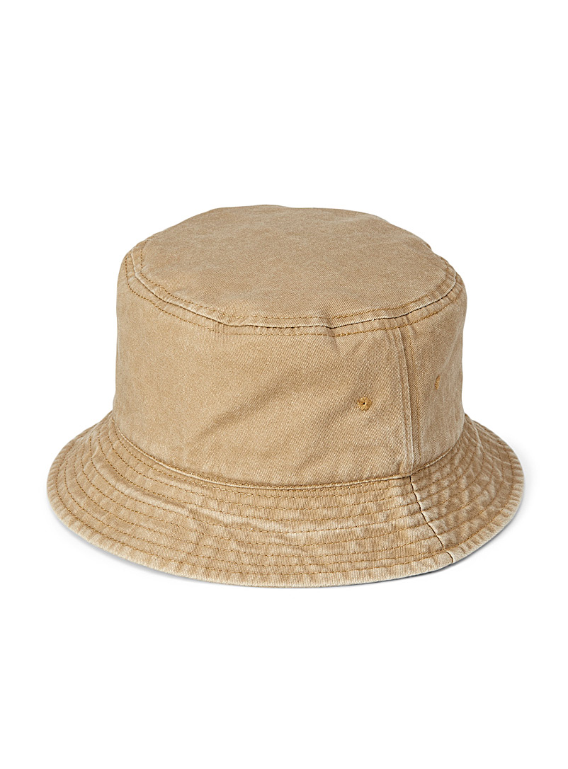 Simons Light Brown Faded cotton bucket hat for women
