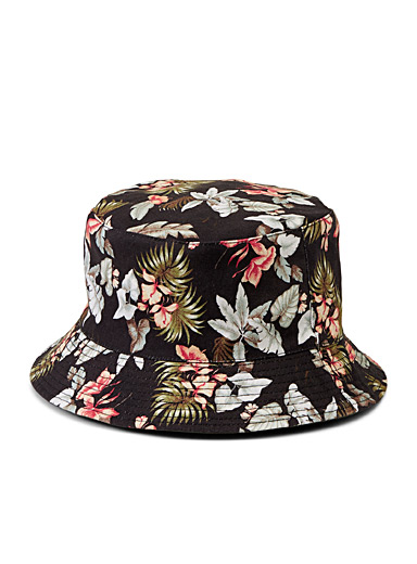 Simons Patterned Black Floral print bucket hat for women