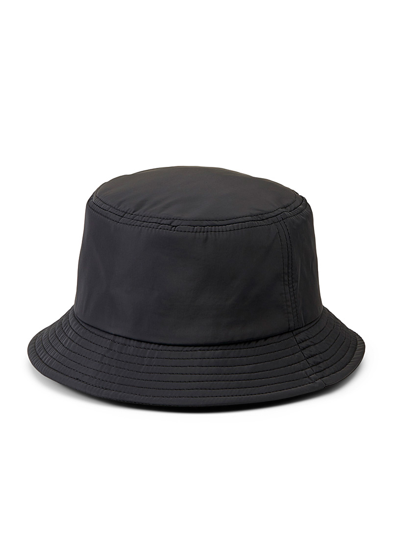 Simons Black Nylon bucket hat for women