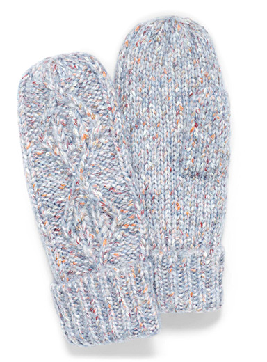 Simons Assorted blue Touch of wool colourful cable-knit mittens for women
