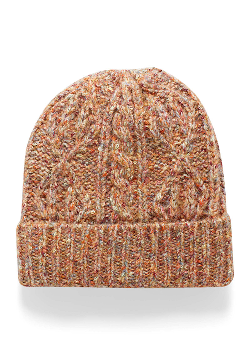 Simons Patterned Brown Touch of wool colourful cable-knit tuque for women