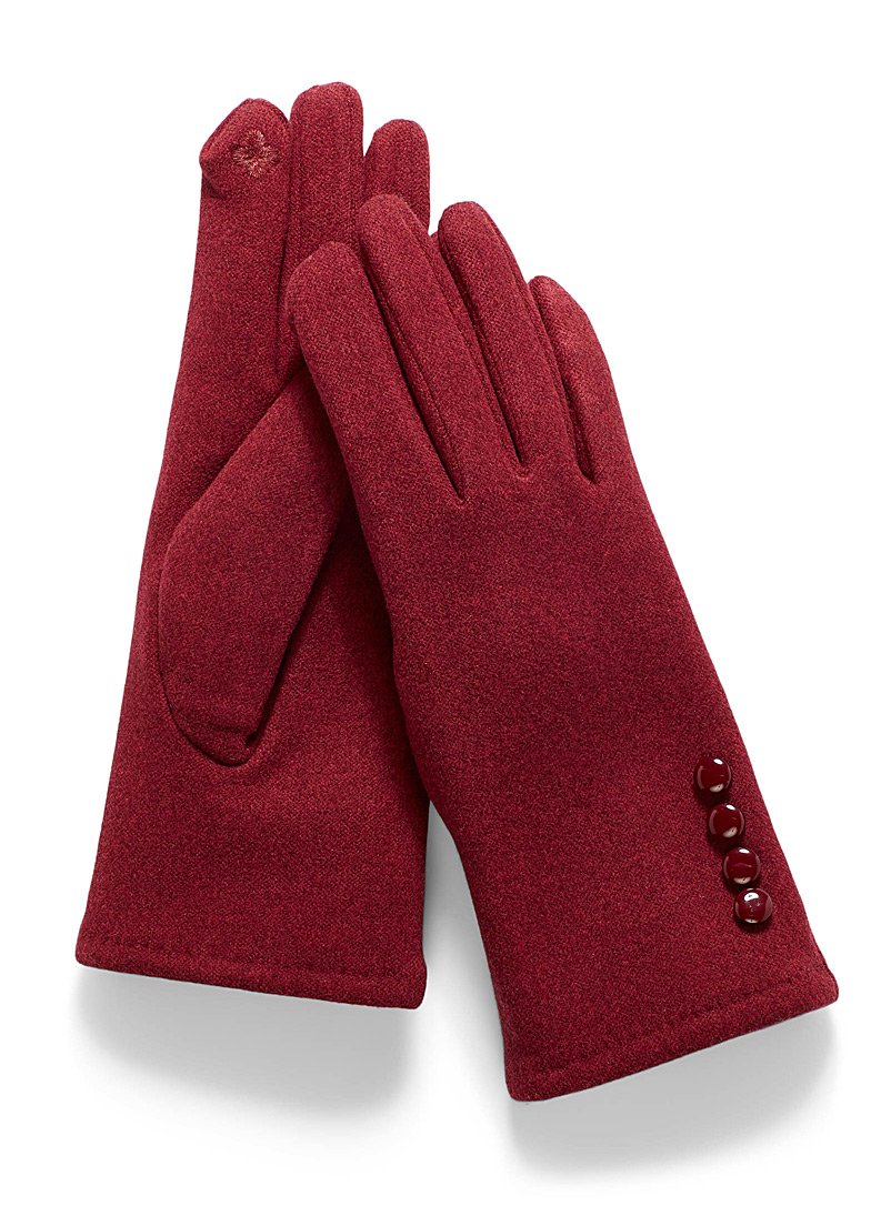 Simons Red Button-cuff gloves for women
