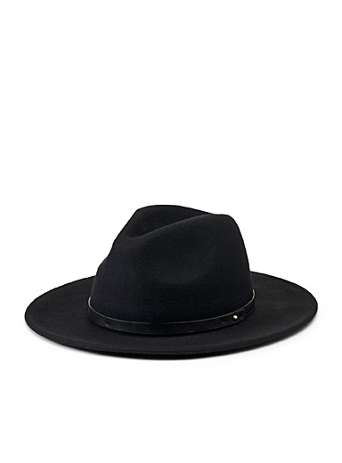 Simons Black Studded trim fedora for women