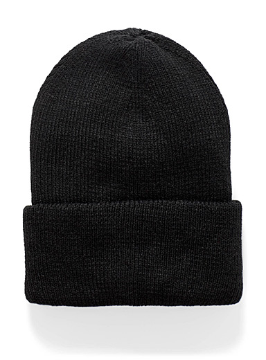 Simons Black Ribbed monochrome tuque for women