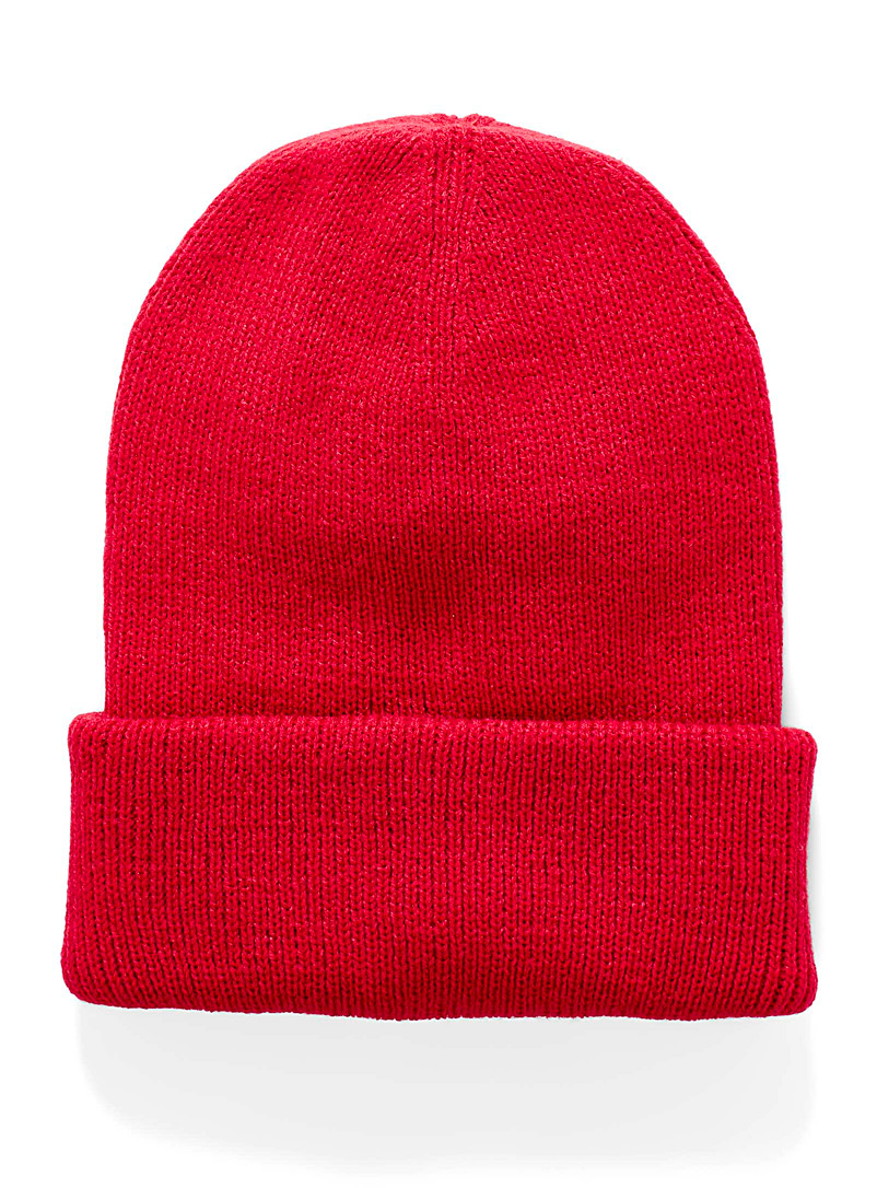 Simons Red Ribbed monochrome tuque for women