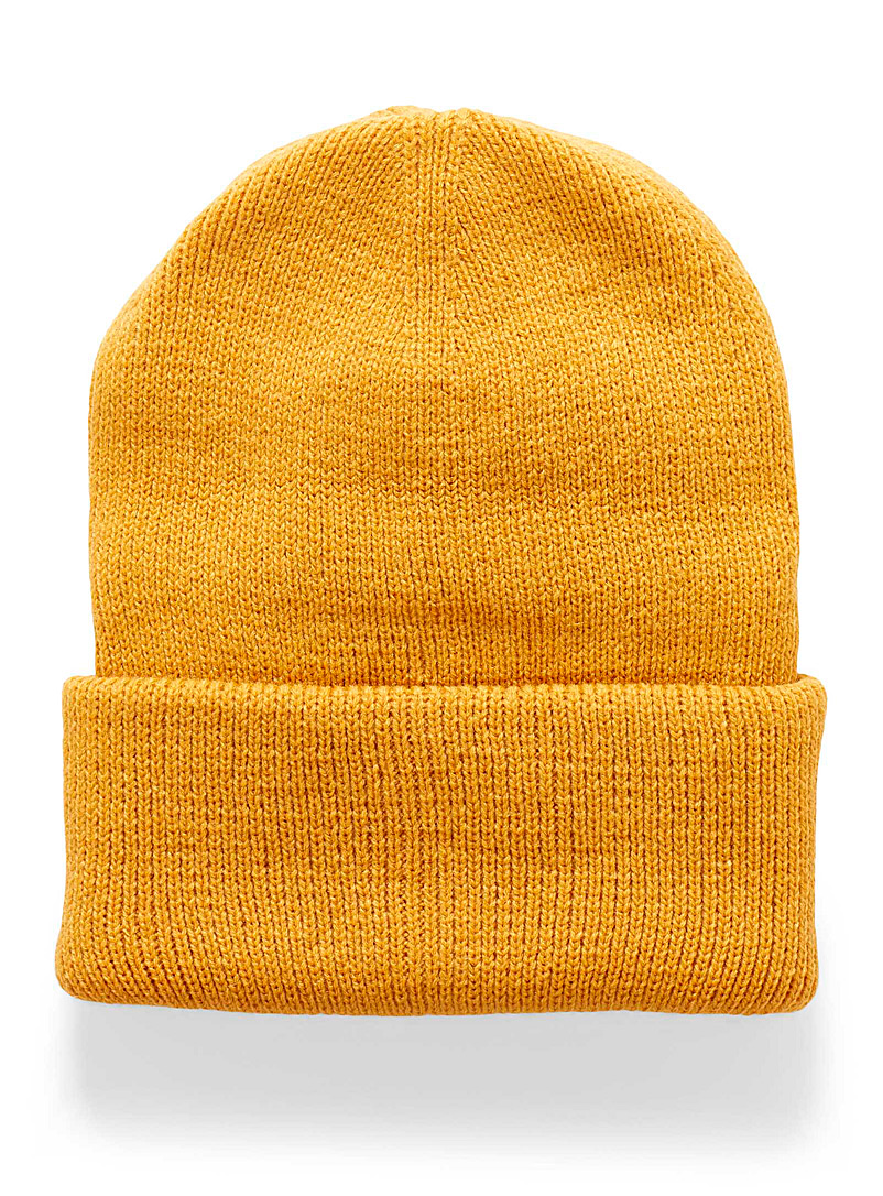 Simons Golden Yellow Ribbed monochrome tuque for women