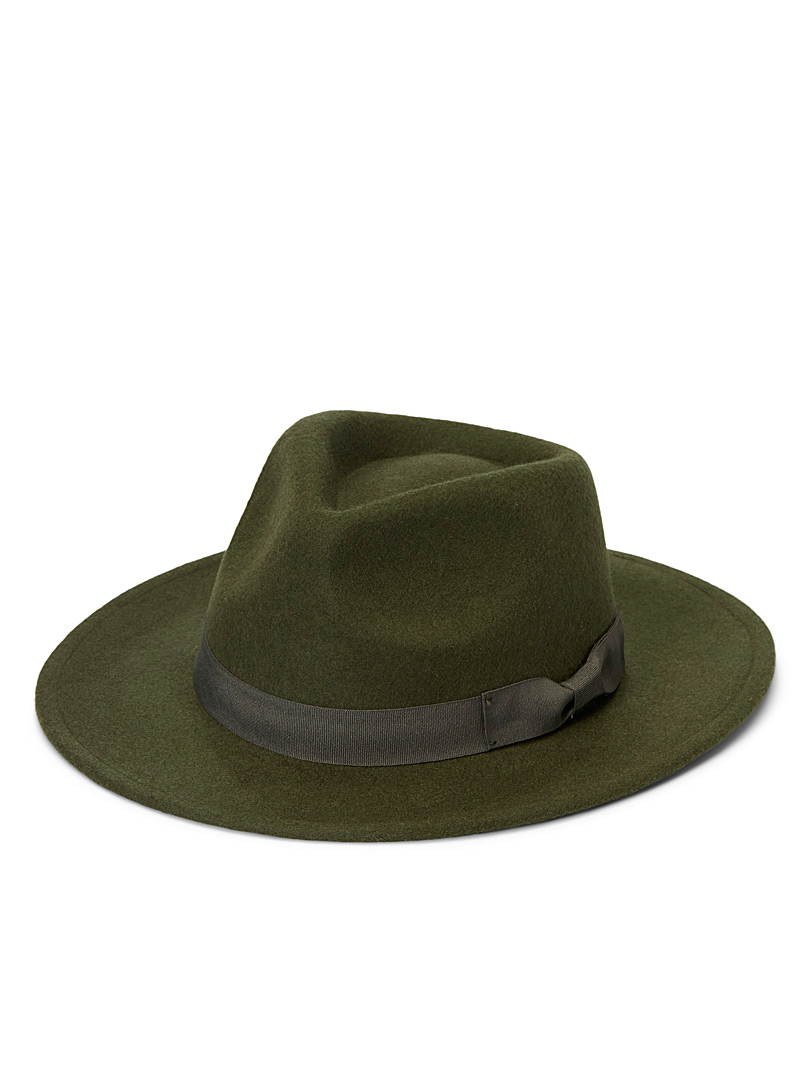 Simons Mossy Green Felt ribbon fedora for women