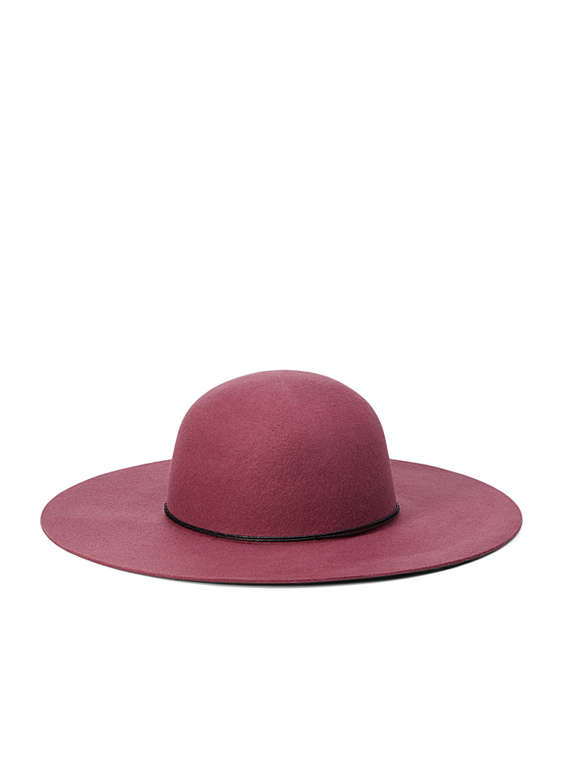 Simons Pink Leather string felted wool wide-brimmed hat for women