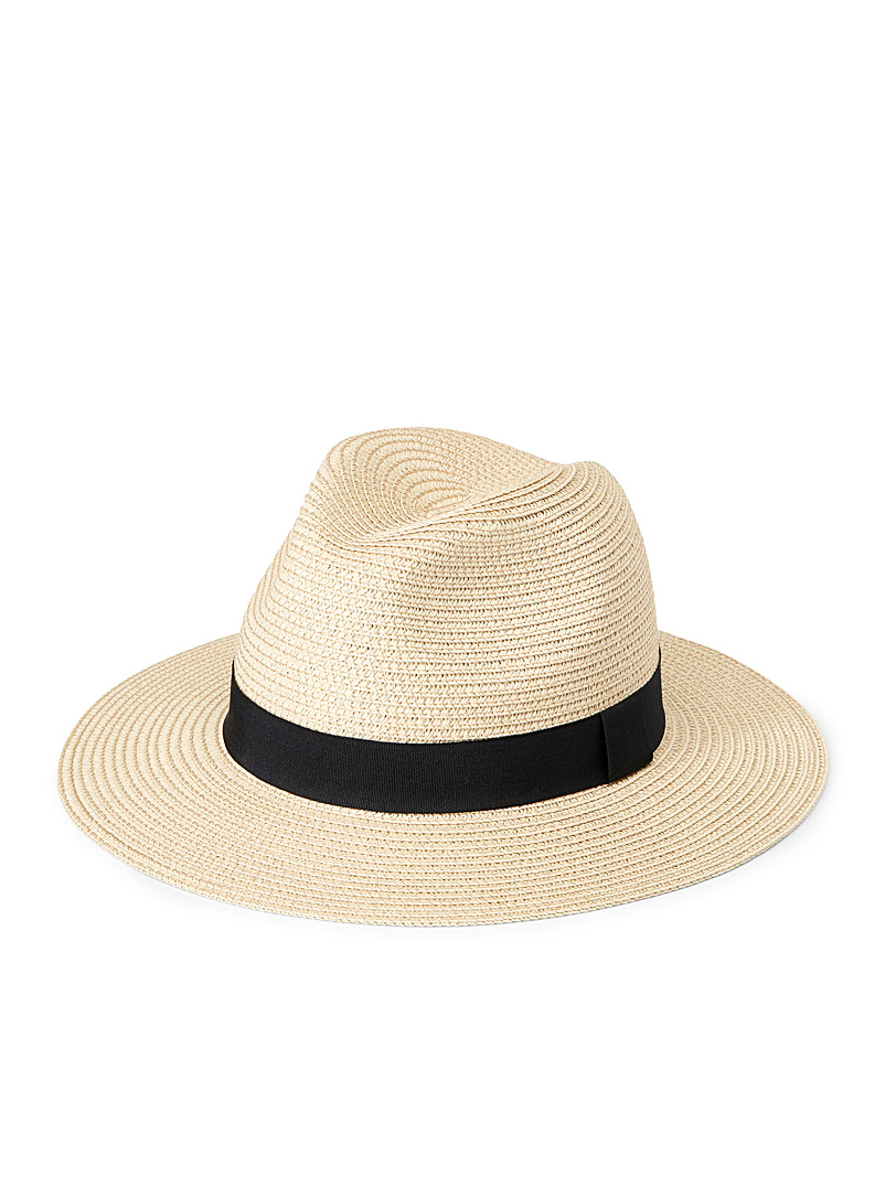 Simons LIght beige  Straw trim Panama hat for women