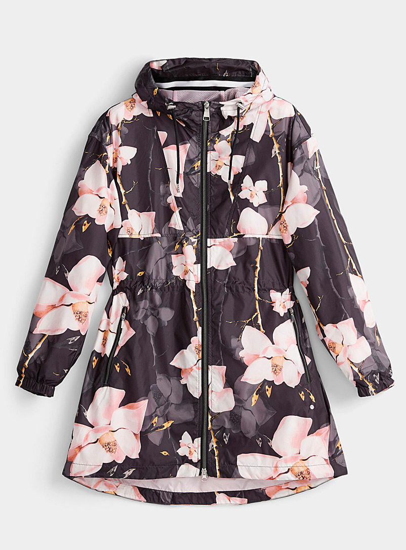 Luhta Patterned Black Huhmari spring bloom windbreaker for women