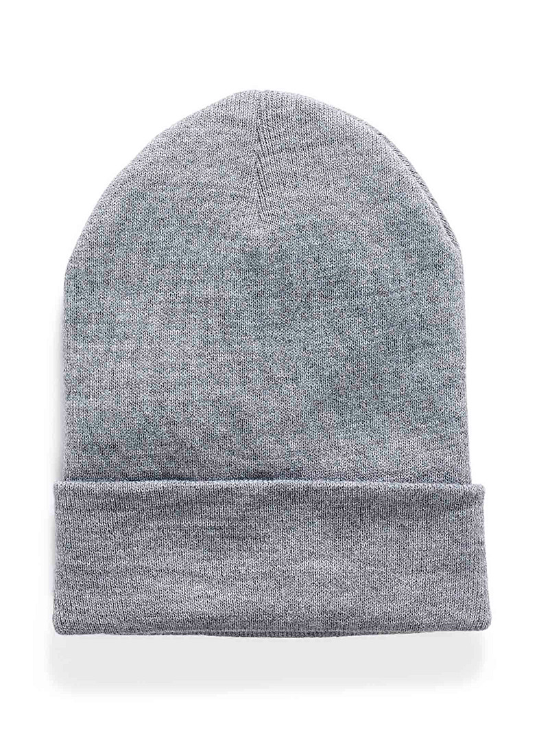Le 31 Light Grey Cuffed rib-knit tuque for men