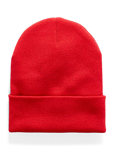 Le 31 Red Ribbed knit cuff tuque for men