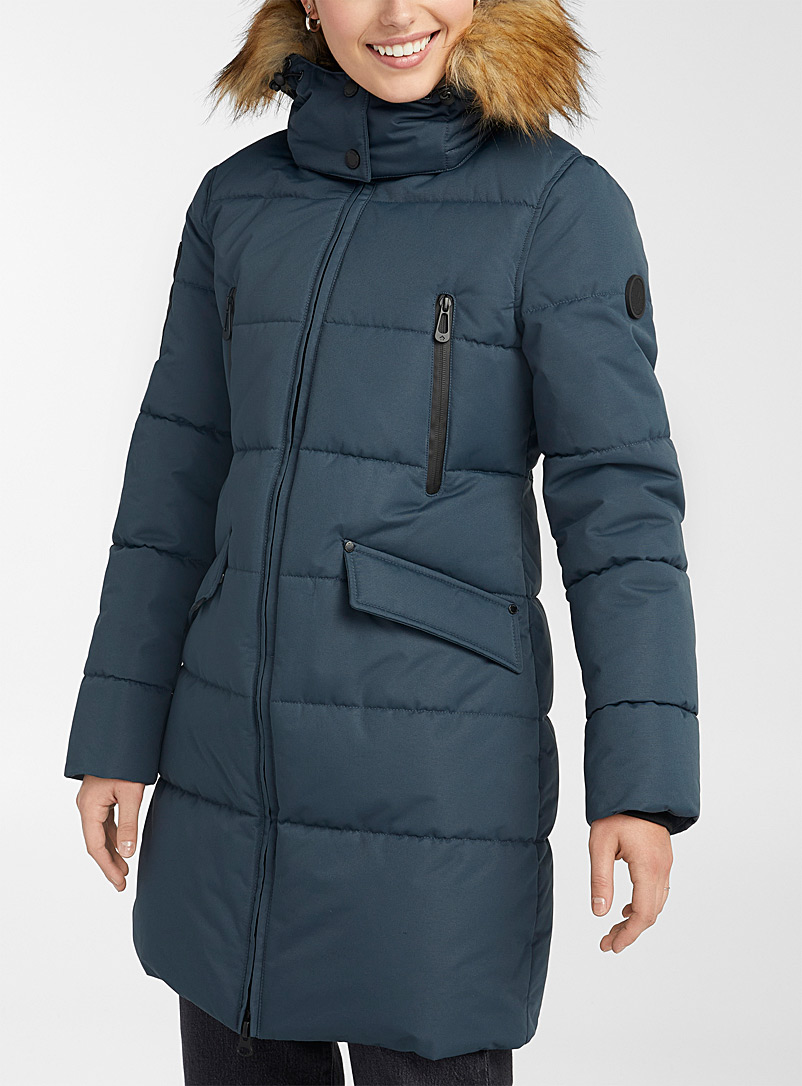Noize Slate Blue Addie quilted parka for women