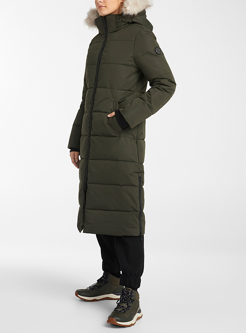 Noize Mossy Green Winter long quilted parka for women
