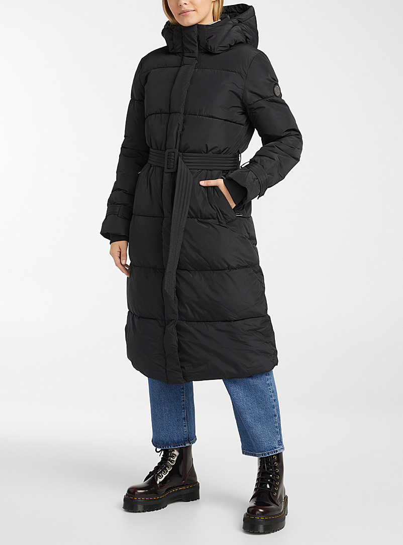 Noize Black Mara long quilted parka for women