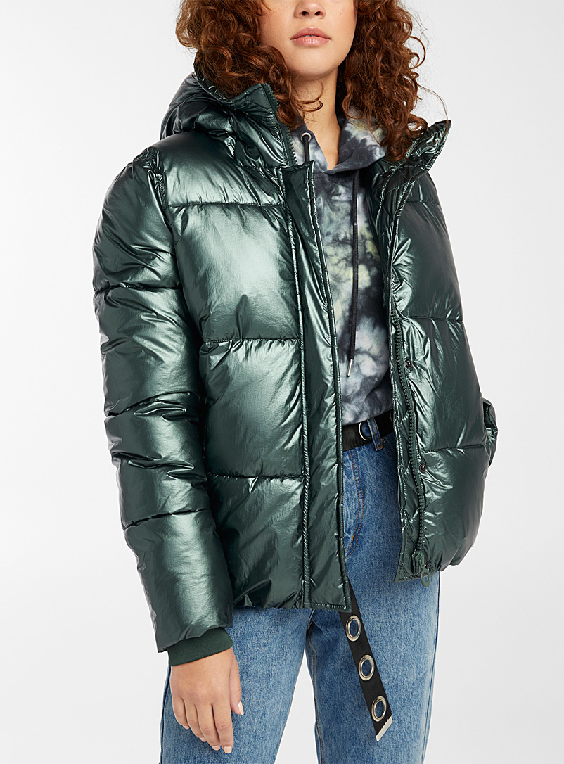 Noize Green Kava cropped metallic puffer jacket for women