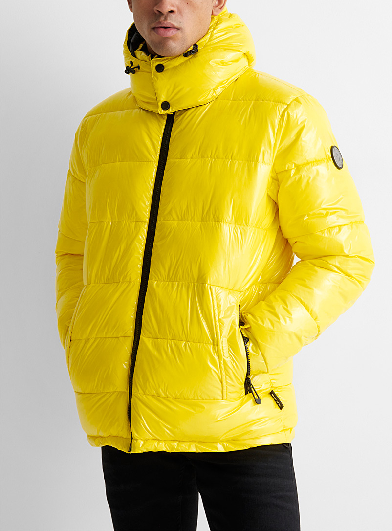 Noize Bright Yellow River shiny puffer jacket for men
